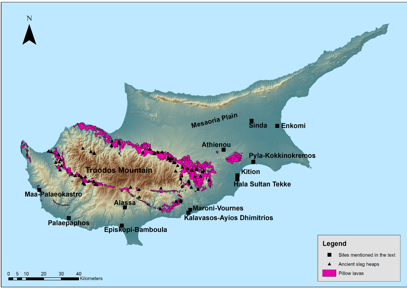 Fig. 1 -Map of Cyprus with main Late Bronze Age sites