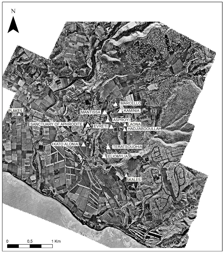Fig. 3- Ortho-photo map of Kouklia with the Late Bronze Age localities