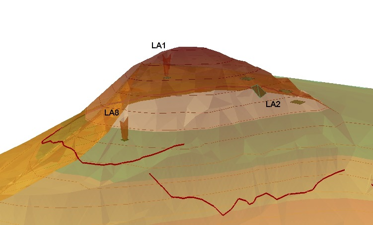 5. 3D elevation of the Laona hill indicating areas of investigation and depth reached