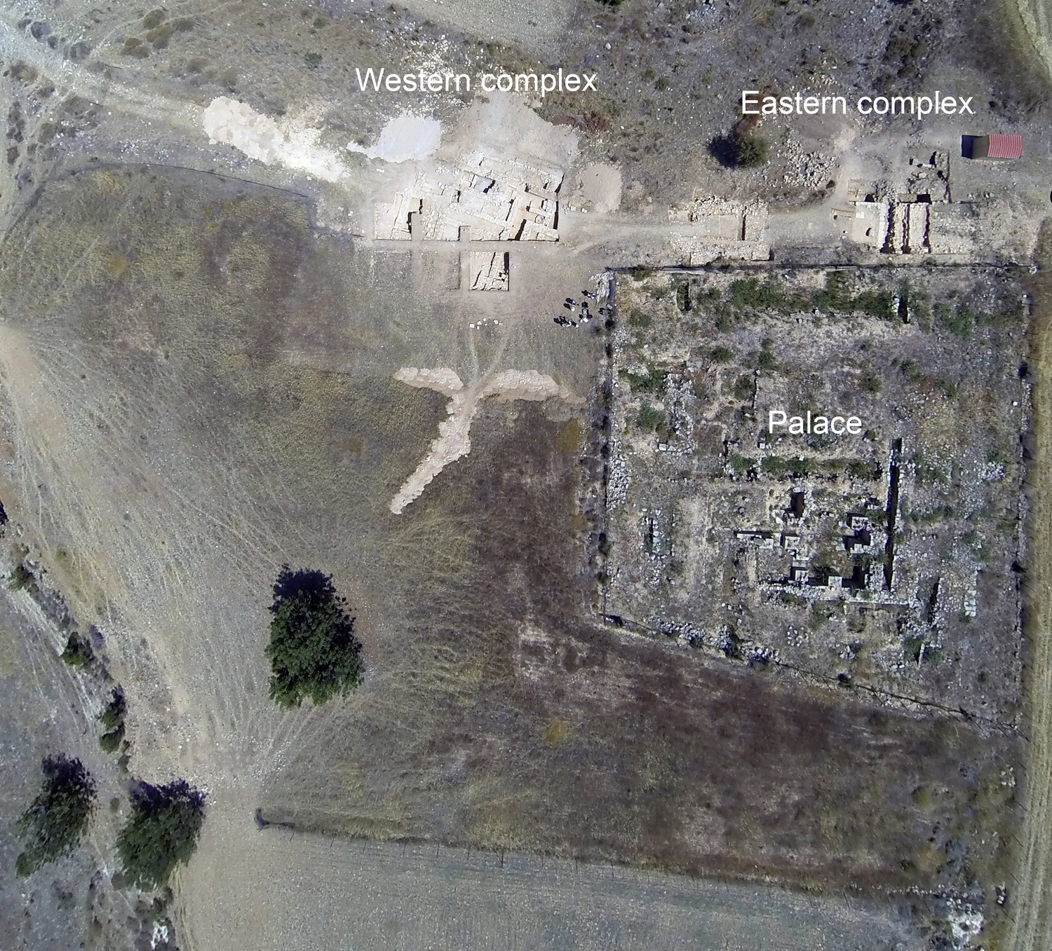 2.Aerial photo of Hadjiabdullah showing excavated areas and Western and Eastern complexes