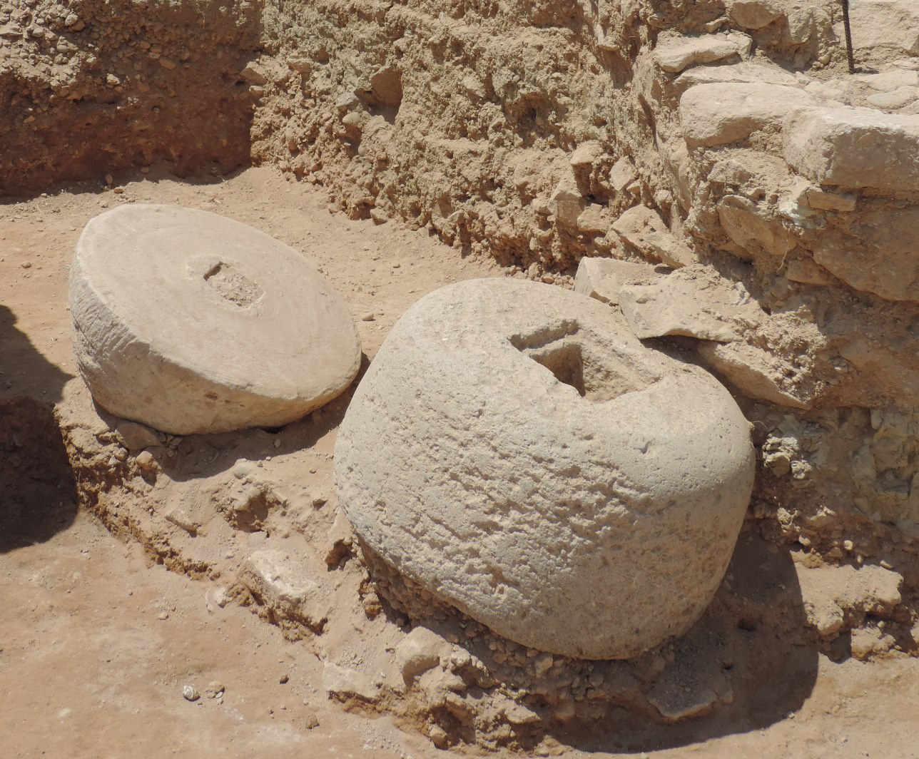 Fig. 10 - The two millstones excavated in trench HA33