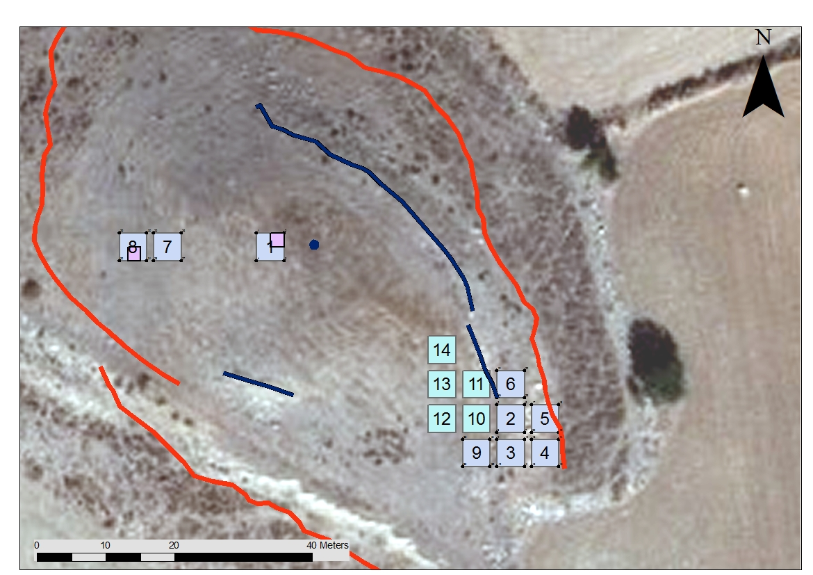 1. Plan of Laona with trenches excavated during season 2013-A